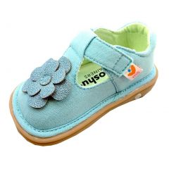 Mooshu Trainers Girls Sky Blue Glitter Flower T-Strap Shoes 3 Baby-9 Toddler