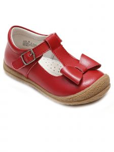 Lamour Girls Red Bow T-Strap Buckle Sporty Mary Jane Shoes 11-2 Kids