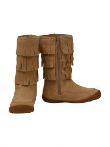 L'Amour Girls Sand Tiered Fringed Side Zip Suede Leather Mid Boots 11-4 Kids