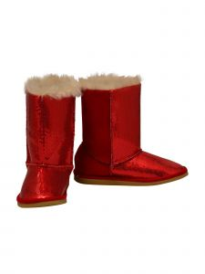 L'Amour Little Girls Red Sequin Embellished Faux Fur Carol Boots 5-10 Toddler