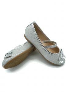 Pipiolo Little Girls Silver Glitter Elastic Strap Mary Jane Shoes 4-10 Toddler