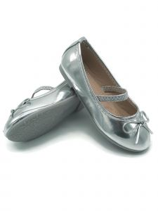 Pipiolo Little Girls Silver Bow Elastic Strap Mary Jane Shoes 8 Toddler