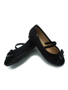 Pipiolo Little Girls Black Glitter Elastic Strap Mary Jane Shoes 4-10 Toddler