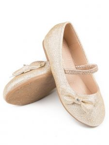 Pipiolo Little Girls Gold Glitter Bow Elastic Strap Mary Jane Shoes 4-10 Toddler