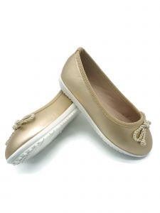 Pipiolo Girls Metallic Gold Bow Ballet Flats 11-5 Kids