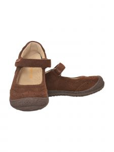 L'Amour Girls Brown Suede Brogue Detail Flexible Sole Mary Jane Shoes 11-13 Kids