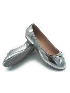 Pipiolo Girls Silver Bow Elastic Strap Mary Jane Shoes 11-3 Kids