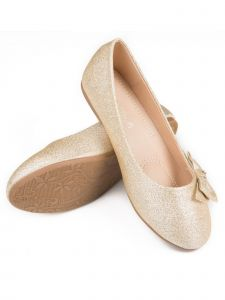 Pipiolo Girls Gold Glitter Bow Elastic Strap Mary Jane Shoes 11-3 Kids
