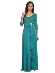 Fanny Fashion Womens Emerald V-Neck Sequined Lace Bodice Evening Gown S-3XL
