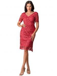 Fanny Fashion Women Rose Crochet Lace Short Sleeve Midi Dress M-4XL