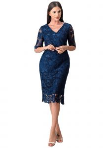 Fanny Fashion Womens Navy Blue Lace Sheath Silhouette Evening Gown L-4XL