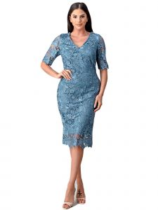 Fanny Fashion Womens Perry Blue Lace Sheath Silhouette Evening Gown L-4XL