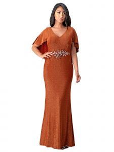 Fanny Fashion Womens Cooper Brown Cape Sleeve Embellished Evening Gown L-4XL