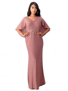 Fanny Fashion Womens Dusty Rose Cape Sleeve Embellished Evening Gown L-4XL