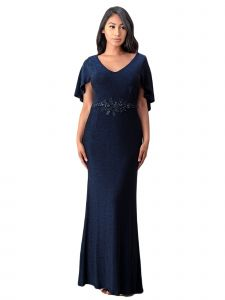 Fanny Fashion Womens Navy Blue Cape Sleeve Embellished Evening Gown L-4XL
