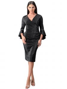 Fanny Fashion Womens Black Metallic Knee Length Cocktail Dress L-4XL
