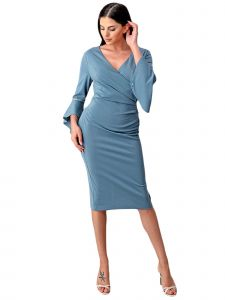 Fanny Fashion Womens Perry Blue Metallic Knee Length Cocktail Dress L-4XL