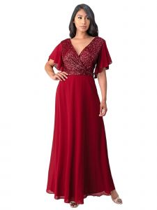 Fanny Fashion Womens Burgundy Wrapped Bust Sequin Detail Evening Gown L-4XL