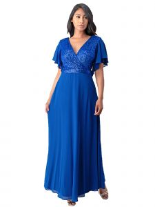 Fanny Fashion Womens Royal Blue Wrapped Bust Sequin Detail Evening Gown L-4XL