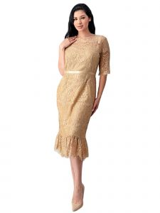 Fanny Fashion Womens Gold Crochet Lace Ruffle Belted Cocktail Dress L-4XL