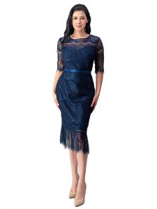 Fanny Fashion Womens Navy Blue Crochet Lace Ruffle Belted Cocktail Dress L-4XL