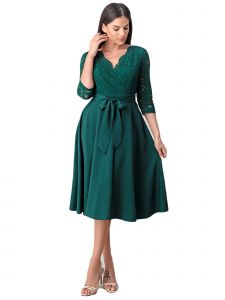 Fanny Fashion Womens Emerald Green Flare Lace Wrapped Bodice Evening Dress L-4XL