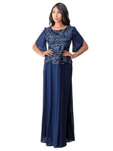 Fanny Fashion Womens Navy Blue Flutter Sleves Sequin Detail Evening Gown L-4XL