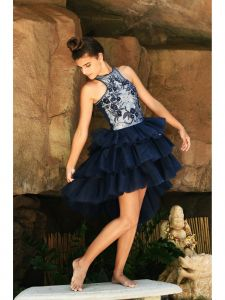 Ooh! La, La! Couture Big Girls Navy Chloe Tiered Junior Bridesmaid Dress 7-12