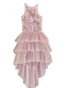 Ooh! La! La! Big Girls Pink Tulle Ruffle Beaded Chloe Tutu Dress 8