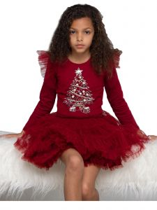 Ooh! La! La! Little Girls Red Sequin Sheer Sleeves Charlotte Christmas Dress 4