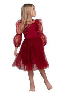 Ooh! La! La! Little Girls Red Sequin Sheer Sleeve Charlotte Christmas Dress 2T-7