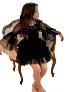 Ooh! La! La! Little Girls Black La Belle Helene Noire Christmas Dress 2T-7