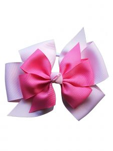 Promarx Girls Pink Hot Pink Four Loop Double Layered Bow Ponytail Holder