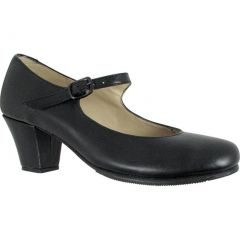 Black Leather Upper Covered Wooden Heel Folklorical Shoes 10.5 Womens