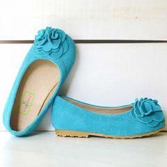 Foxpaws Turquoise Boutique Suede Rosette Kate Shoes Toddler Girls 8