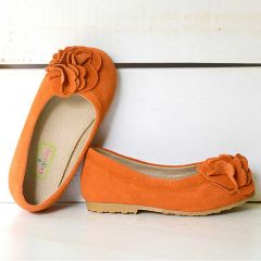 Foxpaws Orange Boutique Suede Rosette Kate Shoes Toddler Girls 7