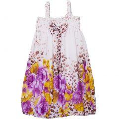Wenchoice Little Girls White Leopard Purple Floral Chiffon Baby Doll Dress 24M-8
