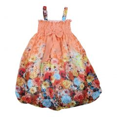 Wenchoice Little Girls Orange Floral Chiffon Baby Doll Dress 24M-8