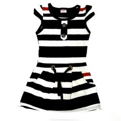 Wenchoice Little Girls Navy Polo Stripes Cap Sleeves Dress 24M-8