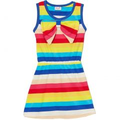 Wenchoice Little Girls Multi Color Rainbow Stripes Bow Polo Dress 24M-8