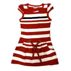 Wenchoice Little Girls Red Stripes Pockets Polo Dress 24M-8