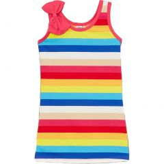 Wenchoice Little Girls Multi Color Rainbow Striped Bow Sleeveless Dress 24M-8