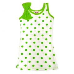 Wenchoice Little Girls Green Polka Dots Bow Sleeveless Dress 24M-8