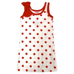 Wenchoice Little Girls Red Polka Dots Bow Sleeveless Dress 24M-8