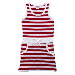 Wenchoice Little Girls Red White Striped Cotton Sleeveless Polo Dress 24M-8