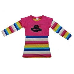 Wenchoice Little Girls Multi Color Rainbow Stripes Long Sleeves Dress 24M-8