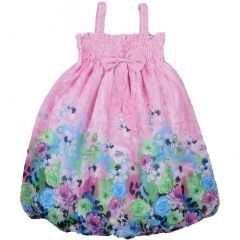 Wenchoice Little Girls Pink Rose Strap Bow Chiffon Baby Doll Dress 24M-8