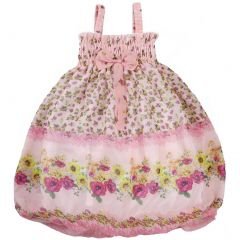 Wenchoice Little Girls Coral Floral Strap Bow Chiffon Baby Doll Dress 24M-8