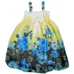 Wenchoice Little Girls Yellow Blue Floral Chiffon Baby Doll Dress 24M-8