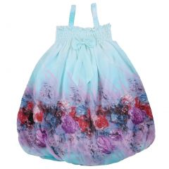 Wenchoice Little Girls Baby Blue Red Chiffon Baby Doll Dress 24M-8